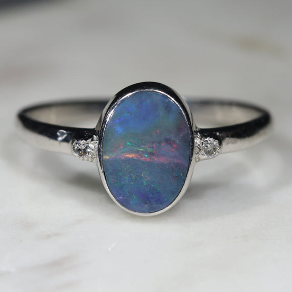 Natural opal dawn breaking silver ring