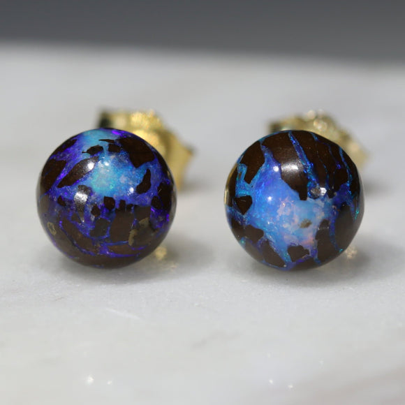 Natural Australian  6.5mm Boulder Opal Matrix Gold Earring Studs