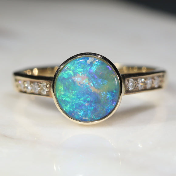 Natural opal planet earth ring