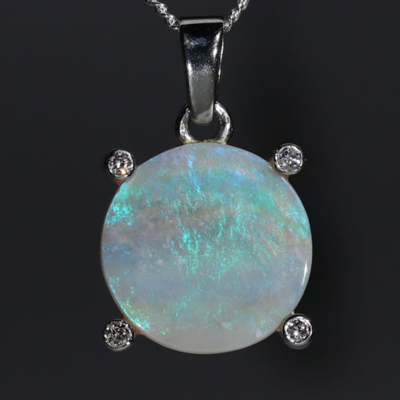 Natural opal full moon pendant