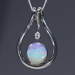 Natural opal cotton candy pendant