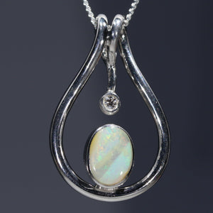 Natural opal with diamond