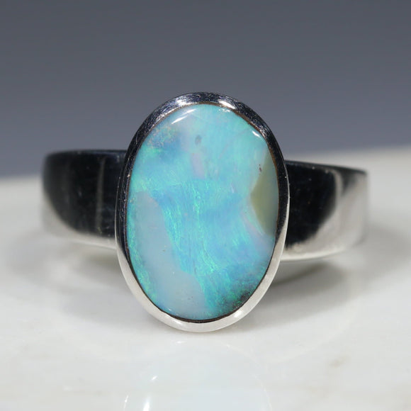 Australian Solid  Boulder Opal Silver Ring - Size 9