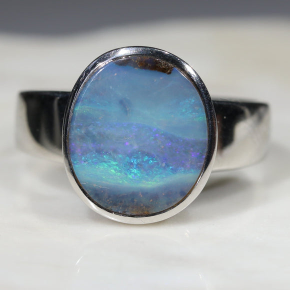 Australian Solid Boulder Opal Silver Ring - Size 8.75