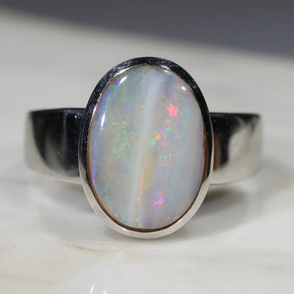 Natural opal rainbow ring