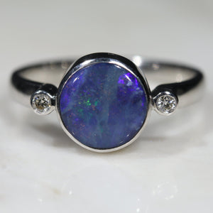 Australian Solid Boulder Opal and Diamond Silver Ring - Size  6.75 Code - SRD33