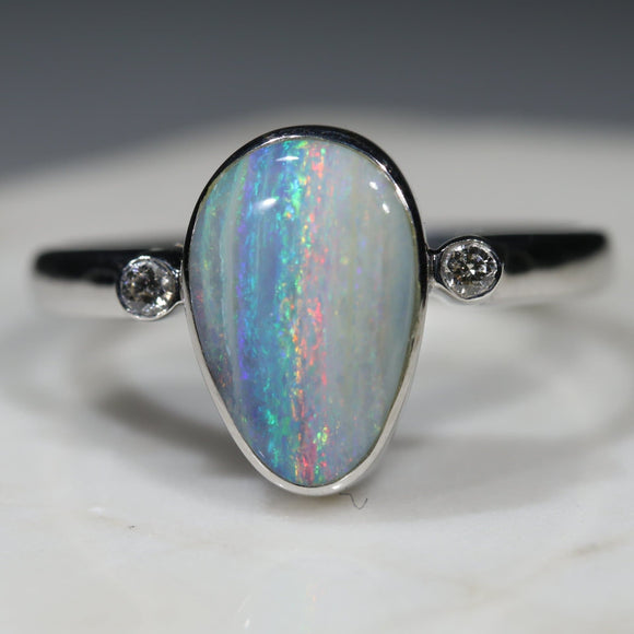 Australian Solid Boulder Opal and Diamond Silver Ring - Size 9