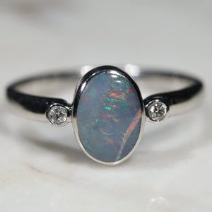 Australian Solid Boulder Opal and Diamond Silver Ring - Size 8.25