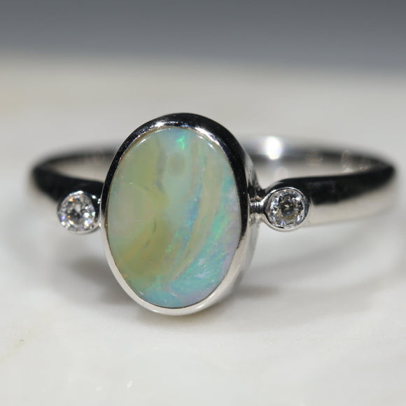 Australian Solid Boulder Opal and Diamond Silver Ring - Size 6.75