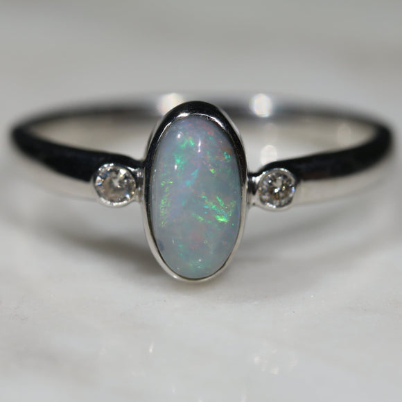 Australian Solid Boulder Opal and Diamond Silver Ring - Size 7.5