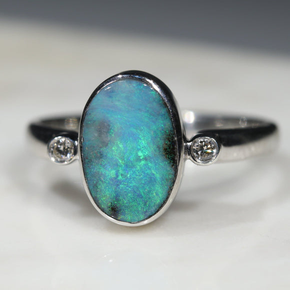 Natural opal northern lights ring