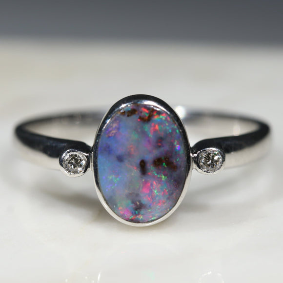 Australian Solid Boulder Opal and Diamond Silver Ring - Size 8.5