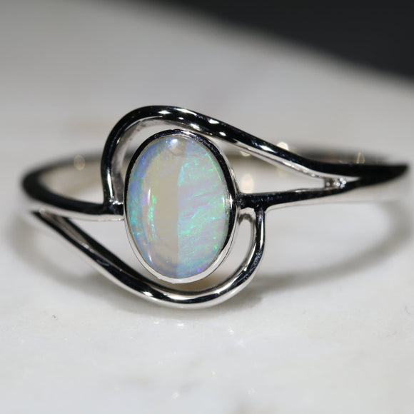 Natural Australian White Opal Silver Ring - Size 12