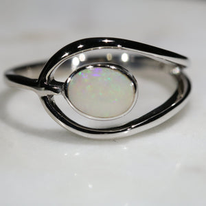Natural Australian White Opal Silver Ring - Size 7.5