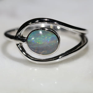 Natural Australian Opal Silver Ring - Size 6.75 Code - SR234