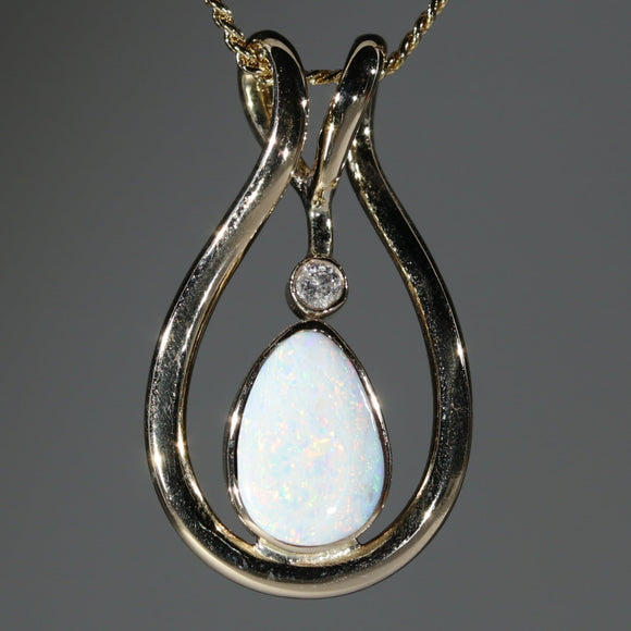 Natural  Australian White Boulder  Opal  and Diamond Gold Pendant