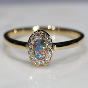 Natural Australian Boulder Opal and Diamond 18k Gold Ring - Size 6.5
