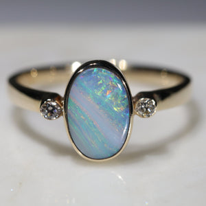 Natural Australian Boulder Opal and Diamond Gold Ring  - Size 7.5 Code -GR737