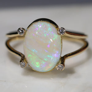 Natural Australian Crystal Opal and Diamond  18k Gold Ring - Size 8