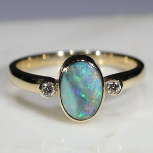 Natural Australian Boulder Opal and Diamond Gold Ring  - Size 7