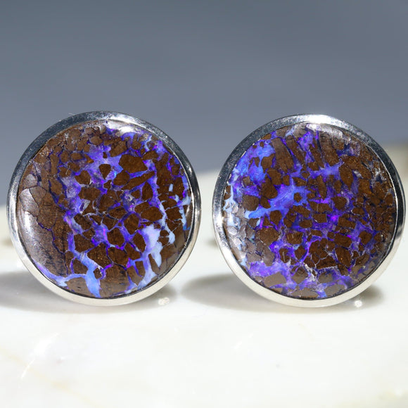 Natural Australian Opal Matrix Silver CuffLinks