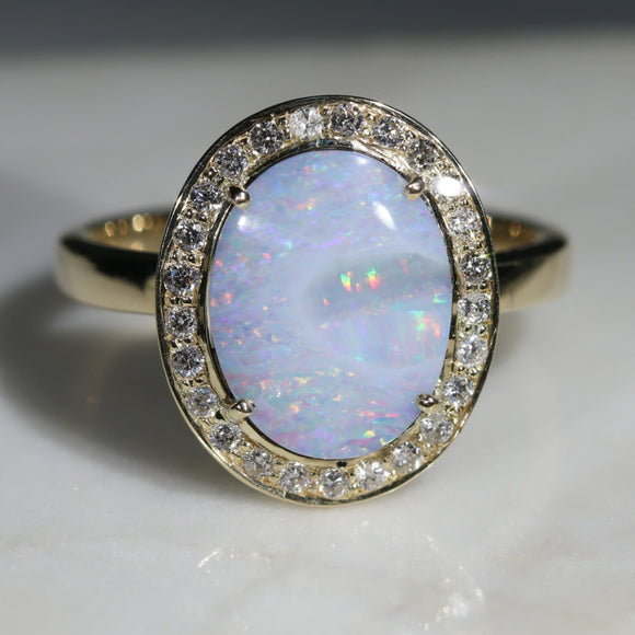 Natural Australian Solid White Boulder Opal and Diamond Gold Ring - Size 8 Code -GR774