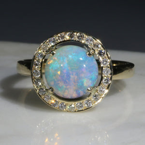 Natural Australian Boulder Opal and Diamond Gold Ring - Size 7.5