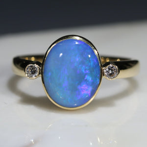 Solid boulder opal blue gold ring GR764