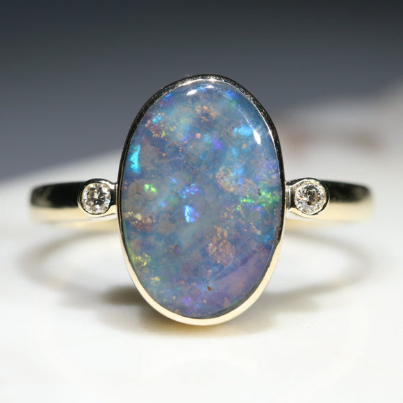Natural Australian Boulder Opal and  Diamond Gold Ring.  Size 9