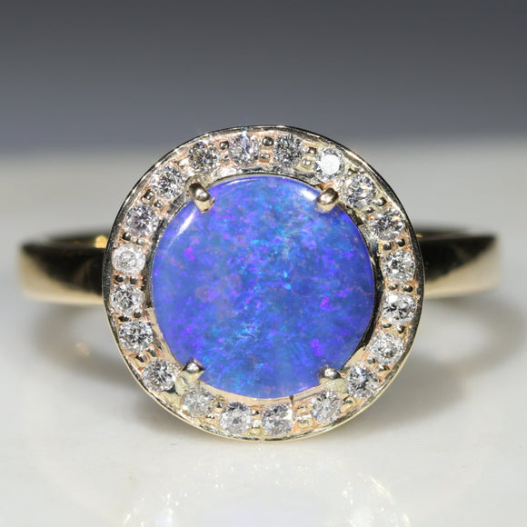 Natural Australian Boulder Opal and Diamond  Gold Ring - Size 6.25 Code -GR773