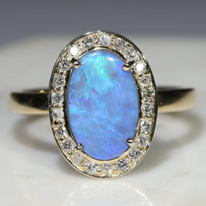 Blue Opal and Diamond gold ring