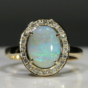 Natural Australian Solid Boulder Opal and Diamond Gold Ring - Size 7.75