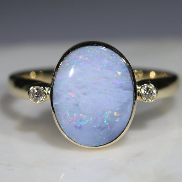 Natural Australian White Opal Boulder and Diamond Gold Ring  - Size 9.25