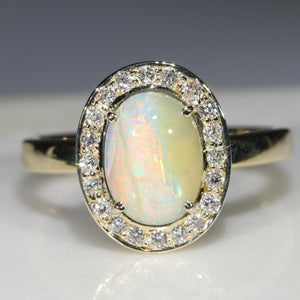 Natural Australian Solid Boulder Opal and Diamond Gold Ring - Size 6.5