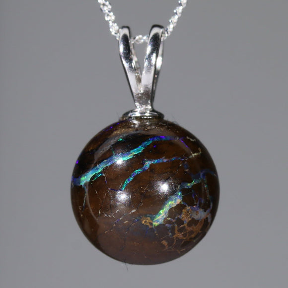 Australian Boulder Matrix Opal Silver Loop Pendant with Silver Chain