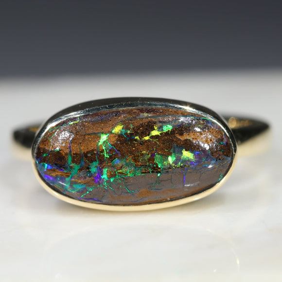 Natural Australian Boulder Opal Matrix Gold Ring.  Size 8.25