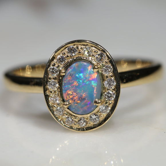 Natural Australian Boulder Opal and Diamond 18k Gold Ring - Size 5.5