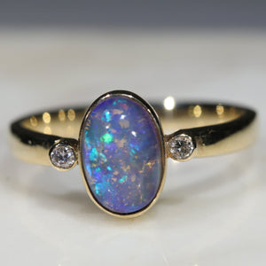 Natural Australian Boulder Opal and Diamond Gold Ring  - Size 6.25 Code -GR703