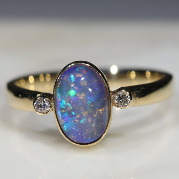 Natural Australian Boulder Opal and Diamond Gold Ring  - Size 6.25