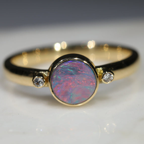 Natural Australian Boulder Opal and Diamond Gold Ring  - Size 6.5