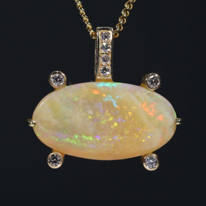 Natural Australian Crystal Opal and Diamond  18k Gold Pendant