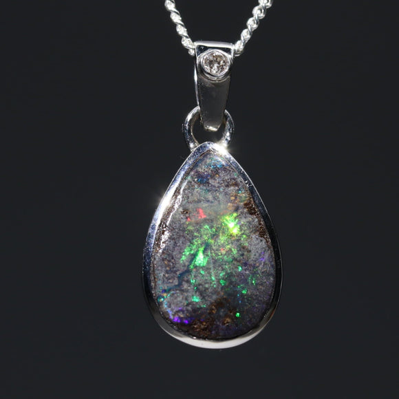 Australian Opal and Diamond Pendant