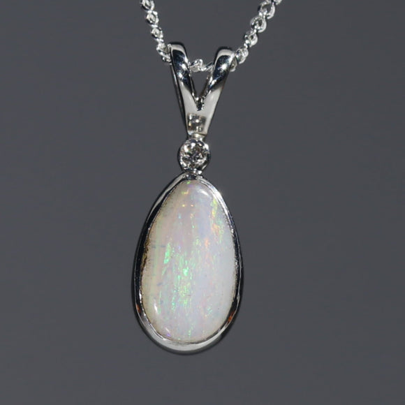 Natural Australian White Boulder Opal and Diamond Silver Pendant with Silver Chain