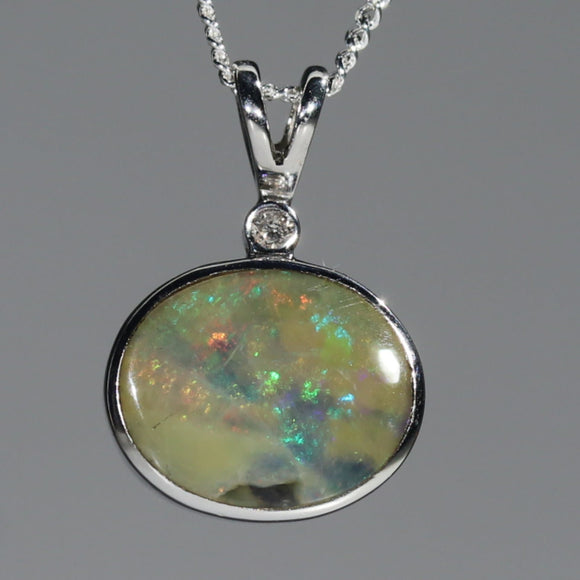 Natural Australian Boulder Opal and Diamond Silver Pendant with Silver Chain Code -SPA160