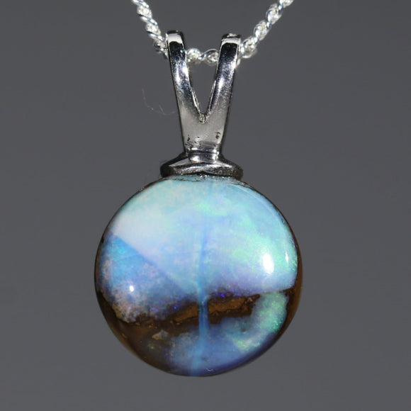Australian Boulder Opal Silver Loop Pendant with Silver Chain