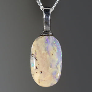 Australian Boulder Opal Silver Loop Pendant with Silver Chain Code -SPA206