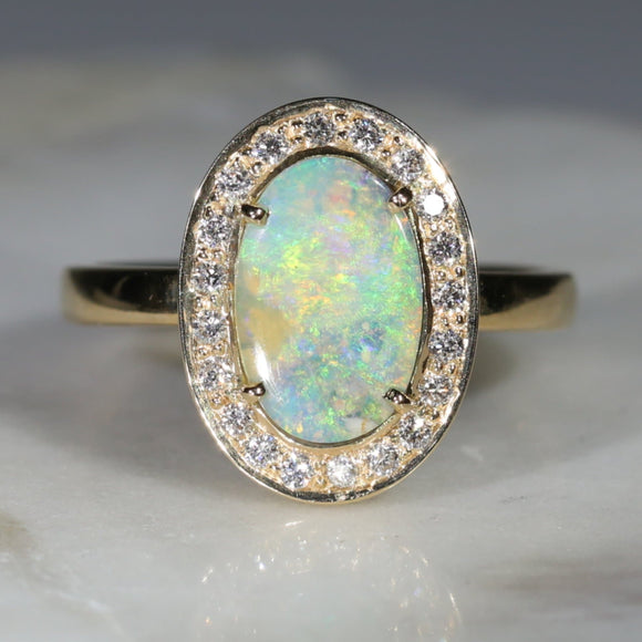Natural Australian Boulder Opal and Diamond 18k Gold Ring - Size 7