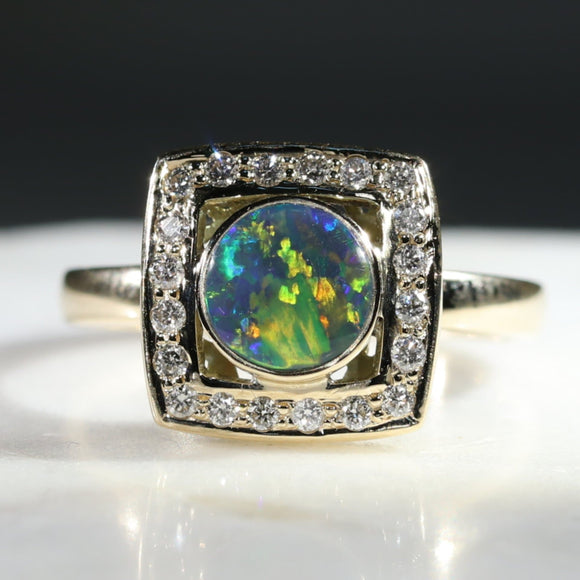 Natural Australian Black Opal and Diamond Gold Ring - Size 8