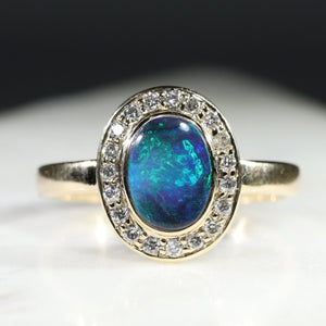 Natural Australian Black Opal and Diamond Gold Ring - Size 6.5