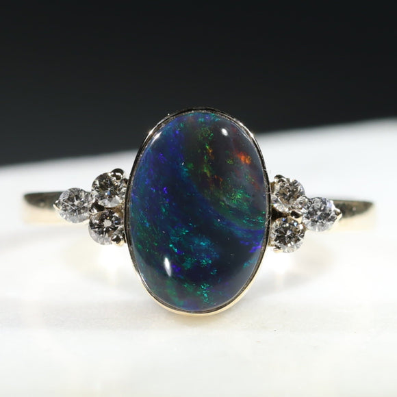 Natural Australian Black Opal and Diamond Gold Ring - Size 8.5